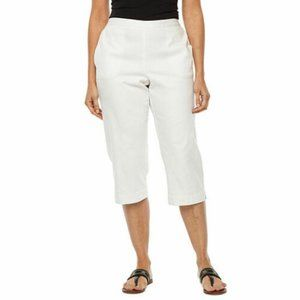 Size 8 Alfred Dunner Capris Cropped Pants White